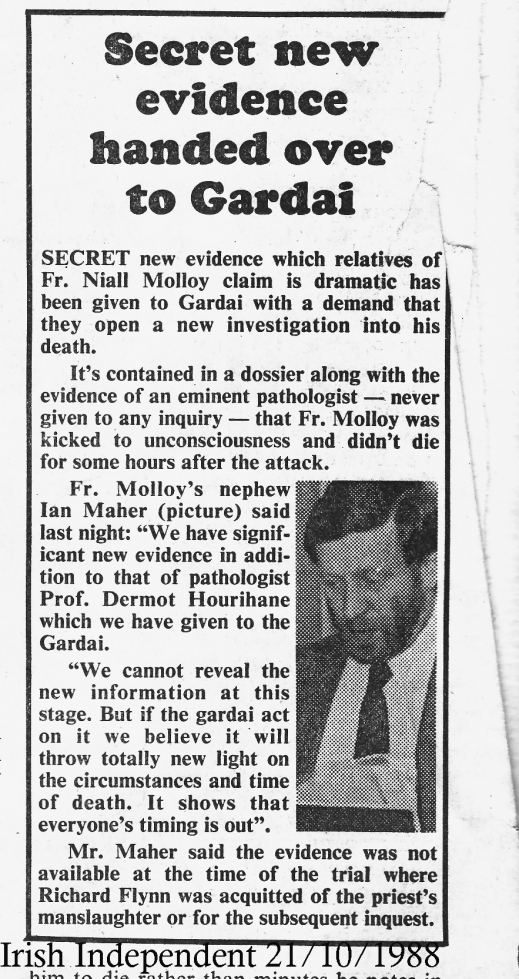 New Evidence presented to Police in 1988