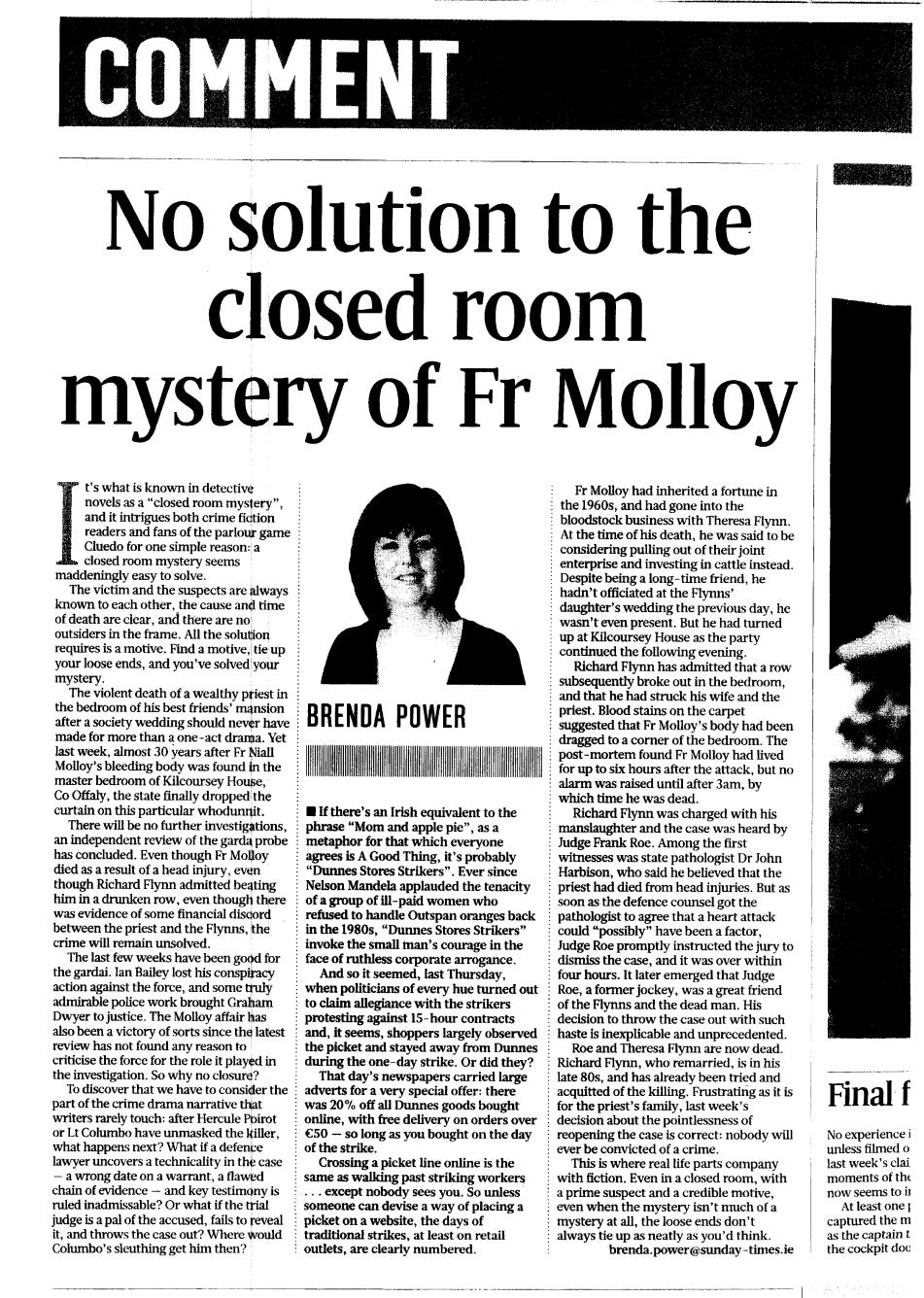 Brenda Power - Sunday Times. April 2015