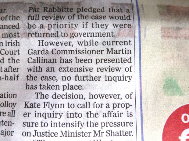 According to the article the Commissioner now has Garda report.