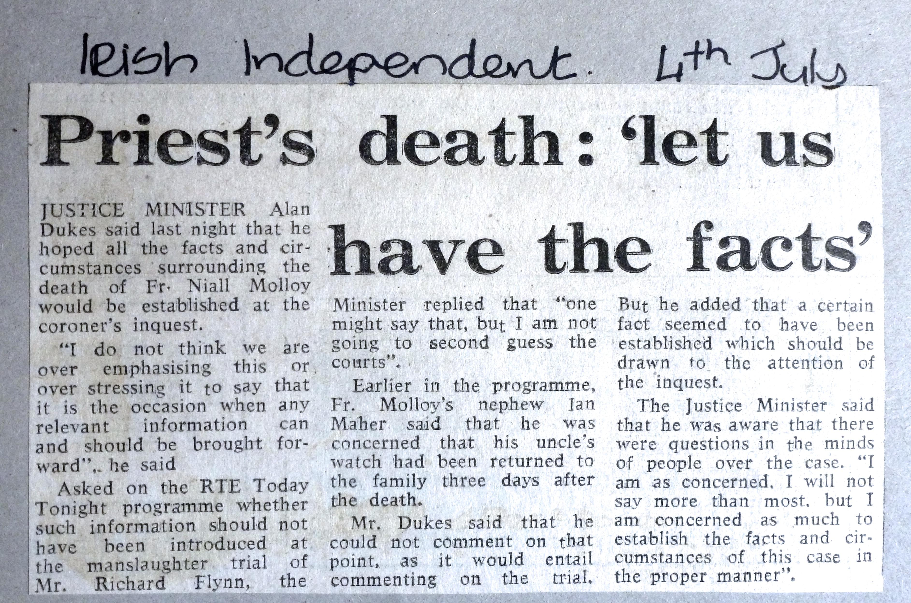 Irish Independent 4th July 1986