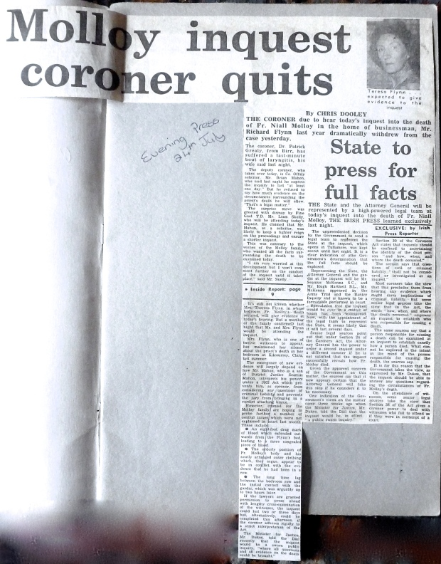 Fr Molloy Coroner quits
