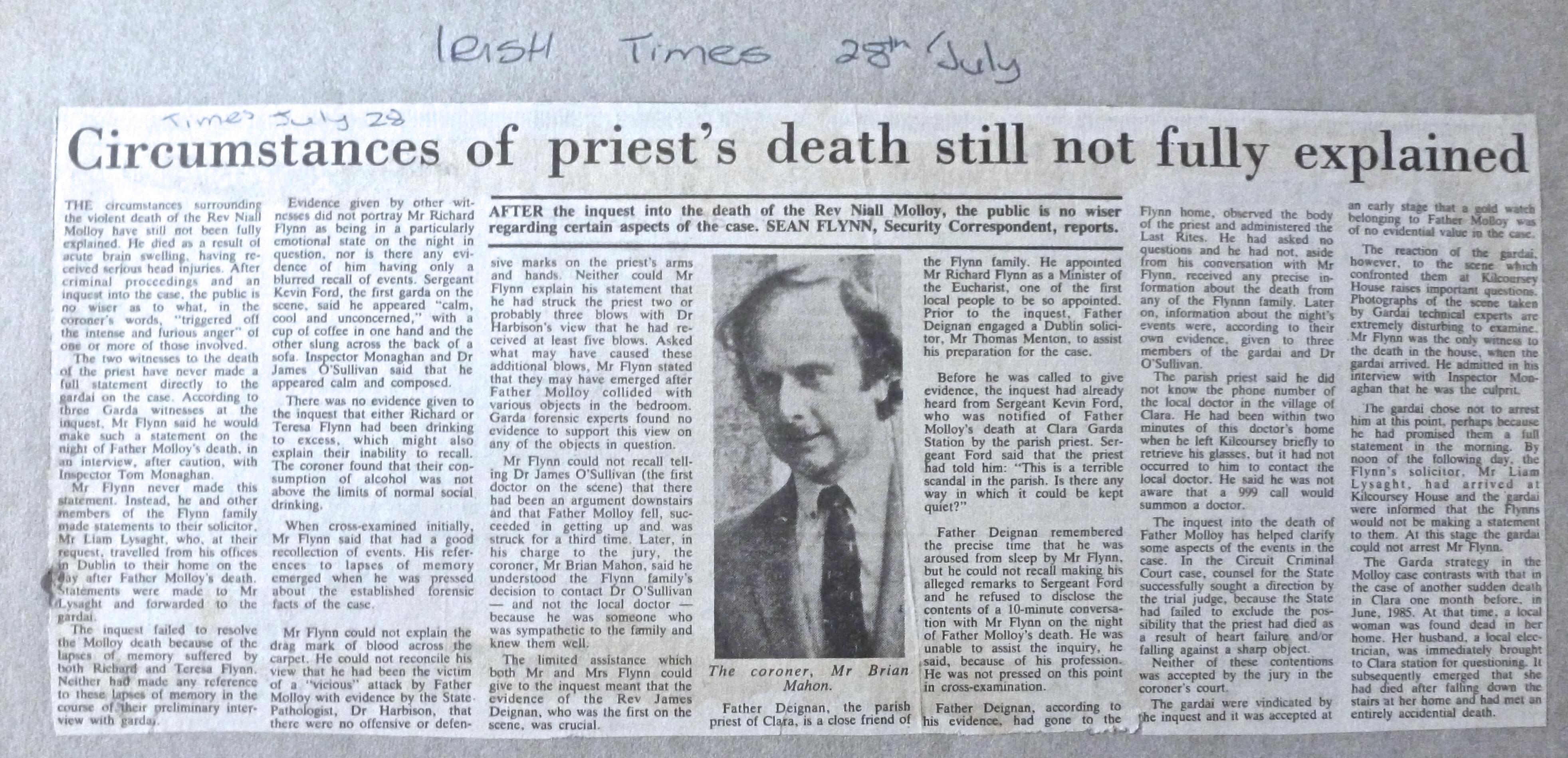 Irish times 28 / July / 1986