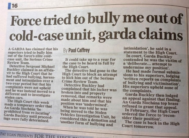 The Irish Mail on Sunday. Cold Case Detective complains of break in to his locker and items removed.