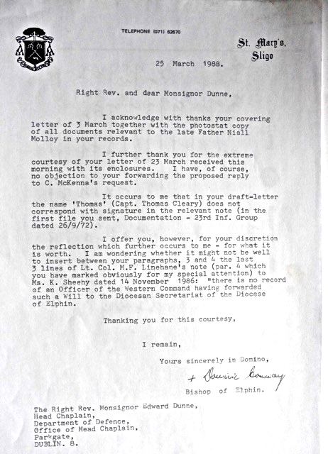 Bishop Conway's Letter to Army